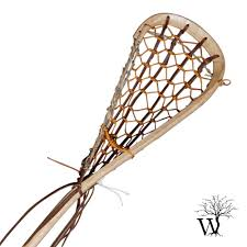 field wood lacrosse stick with rawhide gutwall handmade by justin skaggs
