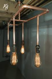 copper pipe light fixture chandelier by kineticadditions on