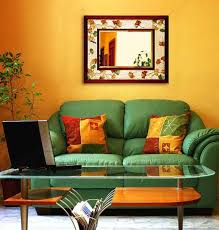 Orange And Yellow Living Room Casual Living Room Styles Example Of A Large Trendy Open Concept