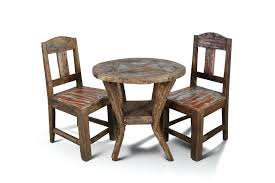 solid wood pub table set handcrafted reclaimed boat wood round bistro table x and chair set