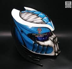 custom handmade predator motorcycle dot approved helmet blue sy07