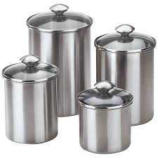 canisters outstanding stainless steel canister set of 4 ceramic within metal kitchen canisters