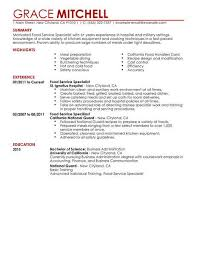 Food Service Resume Interesting Simple Food Service Specialist Resume Example LiveCareer