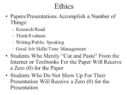 tel paper presentation outline format grading ethics potential  8 ethics papers presentations