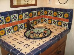 Mexican Bathroom talavera sink showing tiled backsplash mexican home decor gallery 2329 by guidejewelry.us