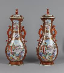 A Fine Pair of Chinese Porcelain 'Music Party' Vases and Covers, Qing  Dynasty
