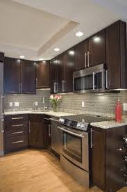 kitchen backsplash glass tile dark cabinets.  Cabinets Architectural Ceramics Stock Glass Tile Back Splash With Dark Kitchen  Cabinets Kitchen By Case DesignRemodeling Inc And Backsplash Glass Tile Dark Cabinets H