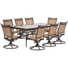 hanover fontana piece aluminum rectangular outdoor dining set pics with fascinating glass top table mainstays white