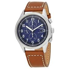 citizen chandler blue dial men s chronograph leather watch ca0621 05l