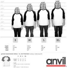Anvil Baseball Jersey Size Chart