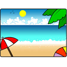 cartoon beach drawing showing the sand the ocean the sky a palm