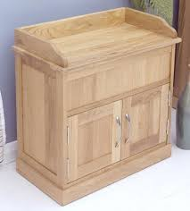 image of the baumhaus mobel oak shoe bench with hidden storage cor20c baumhaus mobel solid oak hidden