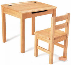 natural school desk and chair