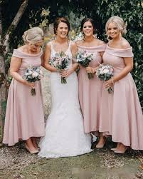 2019 Dusty Pink Plus Size A Line Bridesmaid Dresses Off The Shoulder Ankle Length Simple Cheap Country Wedding Guest Party Gowns Alexia Bridesmaid