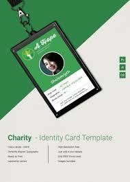 Identity Card Design Beautiful Charity Identity Card Template Free Premium Templates