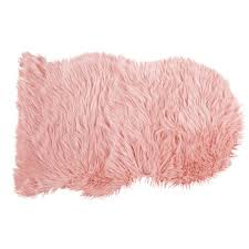faux fur sheepskin rug in pink 60 x 90 cm rugs with flair decoration