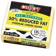 sharp white cheddar. cabot vermont 50% reduced fat sharp white cheddar slices