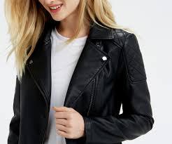 oasis faux leather biker jacket black 4