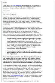 memo from pepsi s hr department that cuts the k plan pepsi 401 k memo