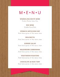 dinner template simple dinner party menu template