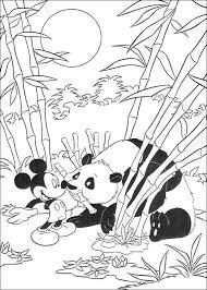 Kids N Fun Kleurplaat Mickey Op Safari Mickey En Een Panda
