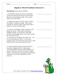 writing algebraic equations from word problems worksheet writing