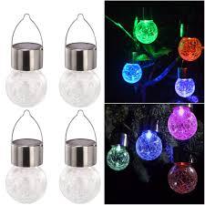 Crackle Glass Globe Solar Lights Amazon Com Iusun Solar Lights Hanging Crackle Glass Globe