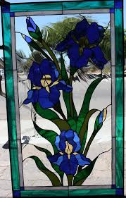 custom made lovely iris stained glass window