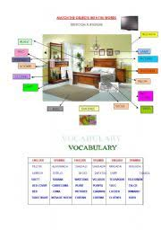Beautiful Bedroom Furniture Names In English Worksheets Crossword Vocabulary Intended Decor