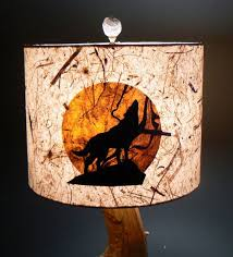 howling wolf lamp shade artisan papers rustic by liteandshadow