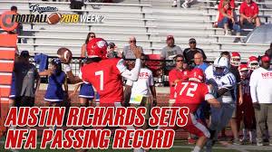 NFAs Austin Richards sets school passing record vs Glastonbury - YouTube