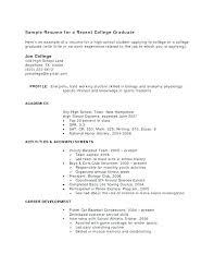 High School Graduate Resume Templates Resumes For High School