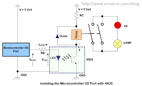 using transistor as a switch ermicroblog because the minimum current to make the phototransitor on is about 10 ma the following circuit is use optocoupler to interfacing the relay