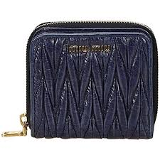 miu miu small black gathered leather wallet for