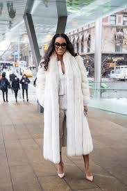 white outfit statement fur coat with heels