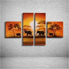 2018 4 panel wall art pictures hand painted natural scenery landscape oil painting african elephant canvas paintings home decoration from solutionwinni  on african elephant canvas wall art with 2018 4 panel wall art pictures hand painted natural scenery