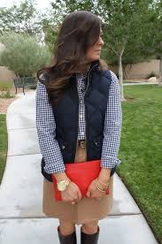 Navy Gingham + Current (Luxe) Craves & Navy Quilted Vest, Navy Gingham Shirt, Camel Mini Skirt, Leopard Belt, ... Adamdwight.com