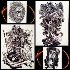 герой спарты воин временная татуировка для мужчин женщин черное тело
