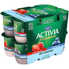 dannon activia light strawberry blueberry nonfat yogurt 12pk cups
