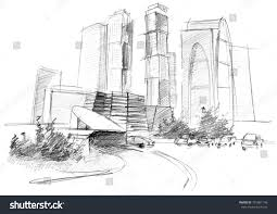 modern architecture skyscrapers sketches. Contemporary Modern Modern Architecture Skyscrapers Sketches Pencil Drawing Big Modern City  Stock Illustration In Architecture Skyscrapers Sketches Ujecdentcom
