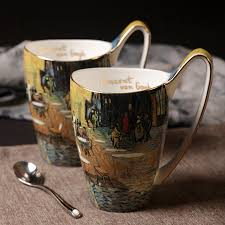 vangogh Cafe At Night bone china ceramic mugs and cups decorative milk tea  coffe mug cup