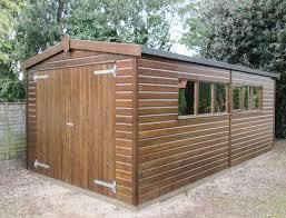 garage in kings lynn crane garden buildings timber garage with wooden double doors front