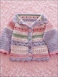 Girl's Striped Hat & Sweater pattern by Dianne Stein   Kleidung häkeln,  Babyjacke stricken, Babysocken stricken
