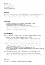 Sports Resume Template Professional Associate Athletic Director Templates  To Showcase Free