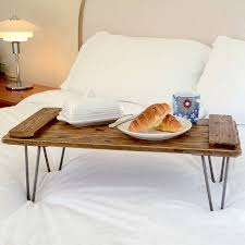 Wooden Breakfast Tray On Hairpin Legs