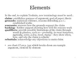 toulmin argument format english   composition  amp  rhetoric i    elements in the end  to explain toulmin  new terminology must be used   claim