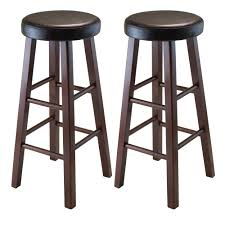 rustic wood bar stools. Winsome Wood Marta Assembled Round Bar Stool With PU Leather Cushion Seat And Square Legs, Rustic Stools N