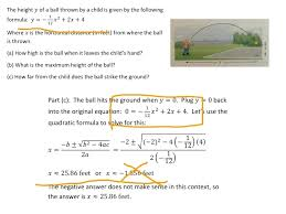what is the quadratic equation used for math quadratic equations throwing a ball math algebra