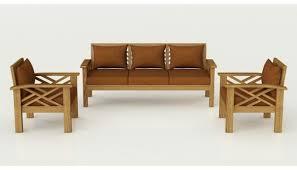 Buy Denver Solid Teak Wood Sofa Set In Natural Teak Finish Online