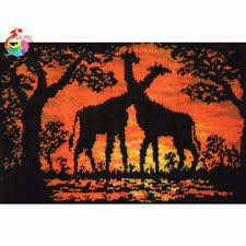 unfinished crocheting rug yarn cushion embroidery carpet cartoon deer mat needlework kit latch hook rug kit